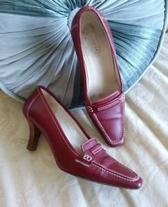 Coach ox blood red loafer soft leather heels Italy